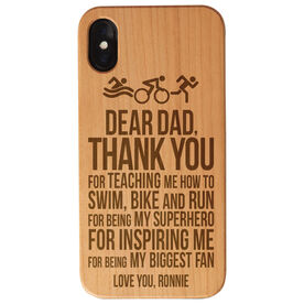 Triathlon Engraved Wood IPhone® Case - Dear Dad