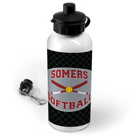 Softball 20 oz. Stainless Steel Water Bottle Personalized Softball Team with Crossed Bats