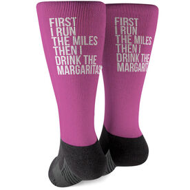 Running Printed Mid-Calf Socks - Then I Drink The Margaritas