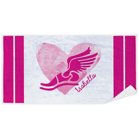 Track & Field Premium Beach Towel - Watercolor Heart Winged Foot