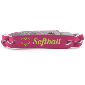 Softball Leather Engraved Bracelet Love Softball