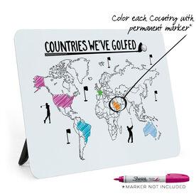 Golf Desk Art - Countries We've Golfed Outline