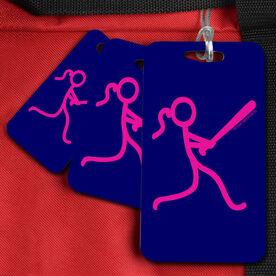 Softball Bag/Luggage Tag Neon Softball Batter