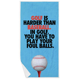 Golf Premium Beach Towel - Is Harder Than Baseball