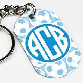 Soccer Printed Dog Tag Keychain Monogram with Soccer Ball Pattern