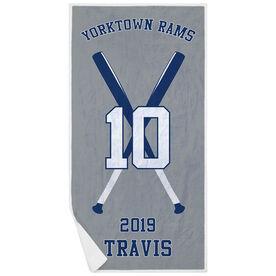 Baseball Premium Beach Towel - Personalized Team with Crossed Bats
