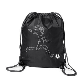 Soccer Sport Pack Cinch Sack - Soccer Girl Player Sketch