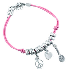 Peace Love Tennis Silver Charm Bracelet