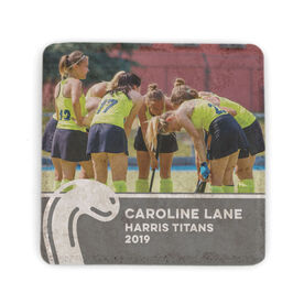 Field Hockey Stone Coaster - Team Photo with Stick