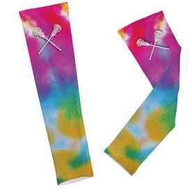 Lacrosse Printed Arm Sleeves Tie Dye Pattern with Lacrosse Sticks