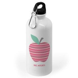 Personalized 20 oz. Stainless Steel Water Bottle - Teacher Striped Apple