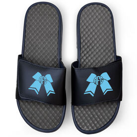 Cheerleading Navy Slide Sandals - Cheer Bow Monogram