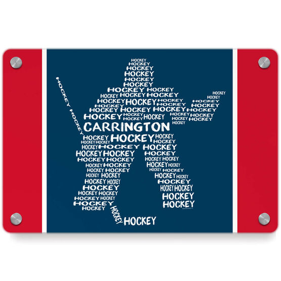 Hockey Metal Wall Art Panel - Personalized Hockey Words Player Goalie