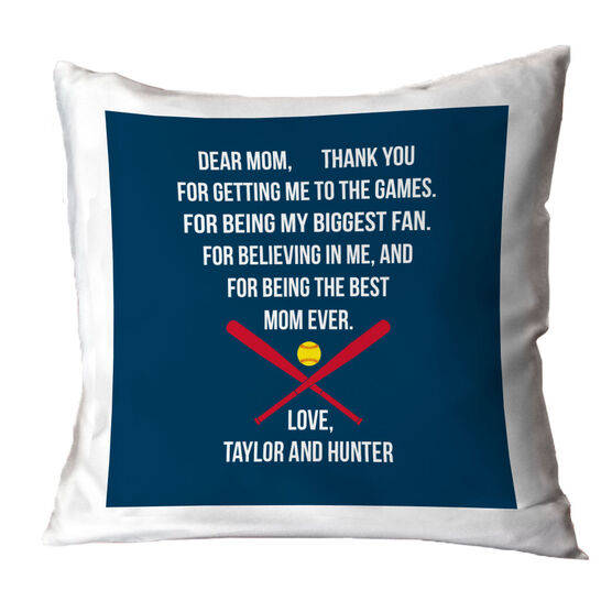 Softball Throw Pillow - Dear Mom Heart