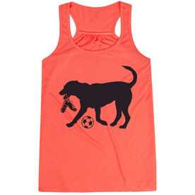 Soccer Flowy Racerback Tank Top - Soccer Dog - Black TRANSFER