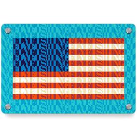 Fly Fishing Metal Wall Art Panel - American Flag Mosaic