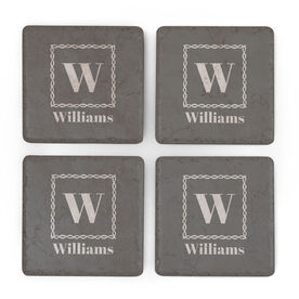 Personalized Stone Coasters Set of Four - Single Initial with Name