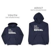 Baseball Hooded Sweatshirt - Eat Sleep Baseball Bold Text