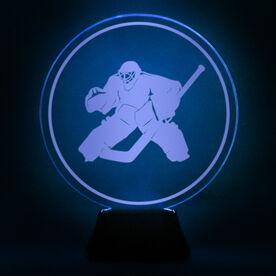 Hockey Acrylic LED Lamp Round Goalie