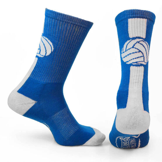 Volleyball Woven Mid Calf Socks - Superelite (Royal Blue/White)