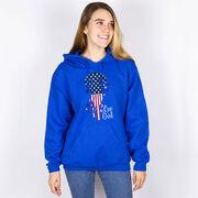 Girls Lacrosse Hooded Sweatshirt - Patriotic Lax Girl