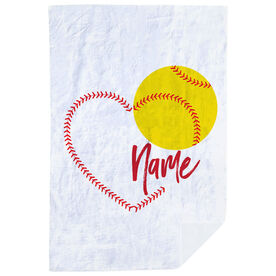 Softball Premium Blanket - Heart with Personalization