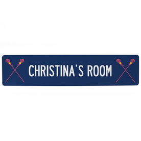 "Girls Lacrosse Aluminum Room Sign - Your Room Lacrosse Sticks (4""x18"")"