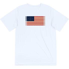 Hockey Short Sleeve Performance Tee - Hockey Laces Flag