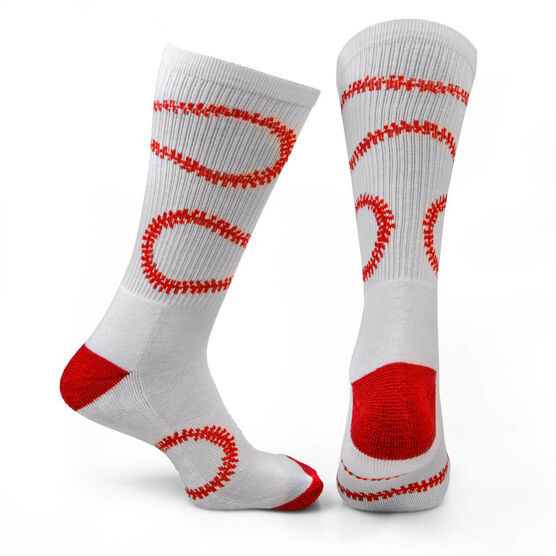 Baseball Woven Mid-Calf Socks - Stitches (White/Red)