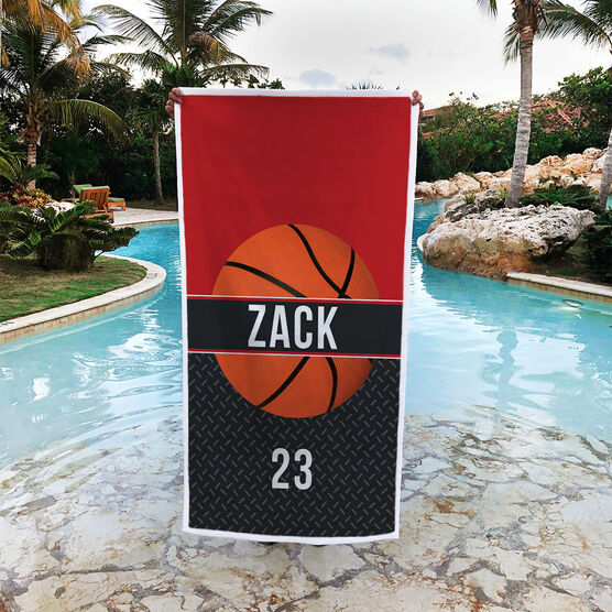 Basketball Premium Beach Towel - Personalized with Stripe