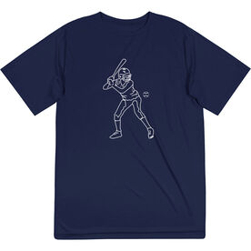 Softball Short Sleeve Performance Tee - Softball Batter Sketch
