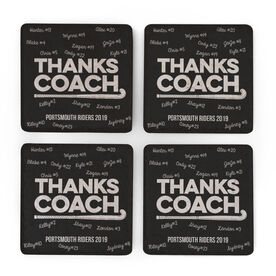 Field Hockey Stone Coasters Set of Four - Coach (Autograph)