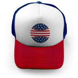 Baseball Trucker Hat - American Flag Ball