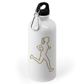 Running 20 oz. Stainless Steel Water Bottle - Female Runner Outline