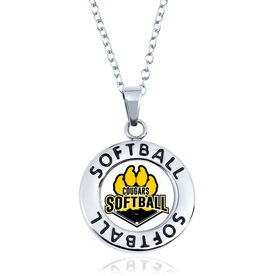 Softball Circle Necklace - Custom Logo