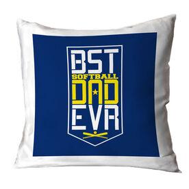 Softball Throw Pillow - Best Dad Ever Shield