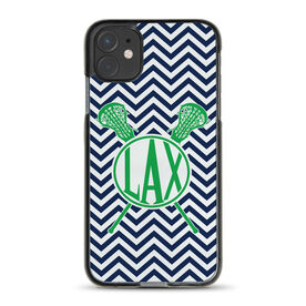 Girls Lacrosse iPhone® Case - Lax Chevron with Crossed Sticks