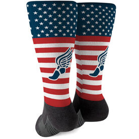 Track and Field Printed Mid-Calf Socks - USA Stars and Stripes