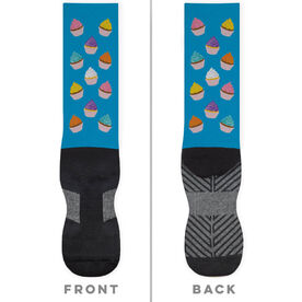 General Sports Printed Mid-Calf Socks - Cupcakes