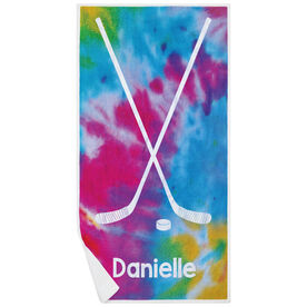 Hockey Premium Beach Towel - Personalized Tie-Dye Pattern with Sticks