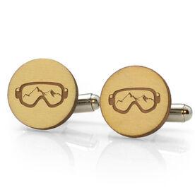 Skiing & Snowboarding Engraved Wood Cufflinks - Goggle Tan