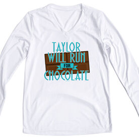 Women's Customized White Long Sleeve Tech Tee Will Run For Chocolate