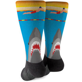 Swimming Printed Mid-Calf Socks - Shark Attack (Guy Swimmer)