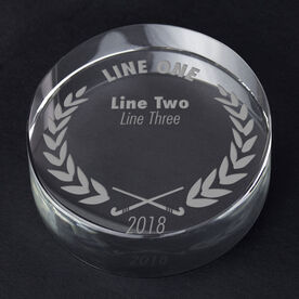 Field Hockey Personalized Engraved Crystal Gift - Custom Laurel Wreath
