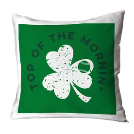 Baseball Throw Pillow Top Of The Mornin' Shamrock Baseball