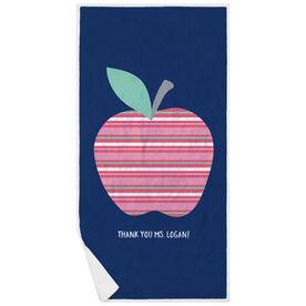 Personalized Premium Beach Towel - Teaching Striped Apple