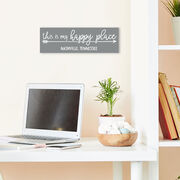 """Personalized 12.5"""" X 4"""" Removable Wall Tile - This Is My Happy Place"""