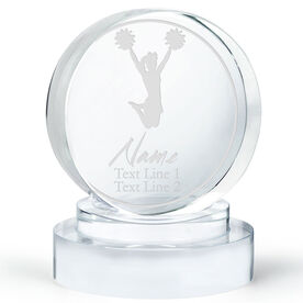 Cheerleading Personalized Engraved Crystal Gift - Personalized Silhouette (Jump)