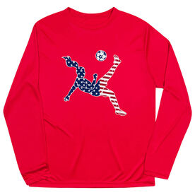 Soccer Long Sleeve Performance Tee - Girls Soccer Stars and Stripes Player
