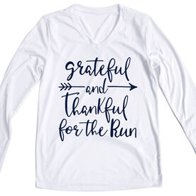 Women's Long Sleeve Tech Tee -  Grateful And Thankful For The Run